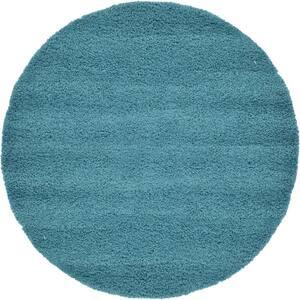 Solid Shag Aqua Blue 6 ft. Round Area Rug