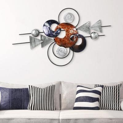 """""""Target"""" Hand Painted Etched Metal Wall Sculpture 47.2 in. x 27.2 in."""