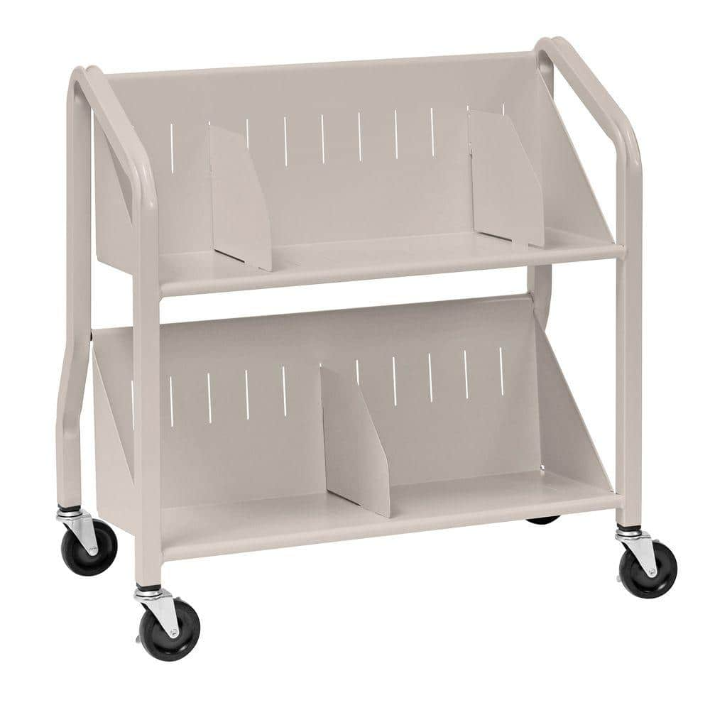 Buddy Products Sloped Silver 2 Shelf Book Cart With Dividers 5413 3 The Home Depot