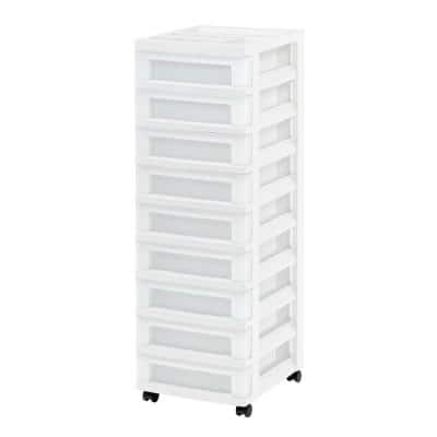 14.25 in. L x 12.05 in. W x 37.75 in. H 9-Drawer Storage Cart with Organizer Top in White and Pearl