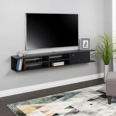 Wall Mounted Black Media Console with Door