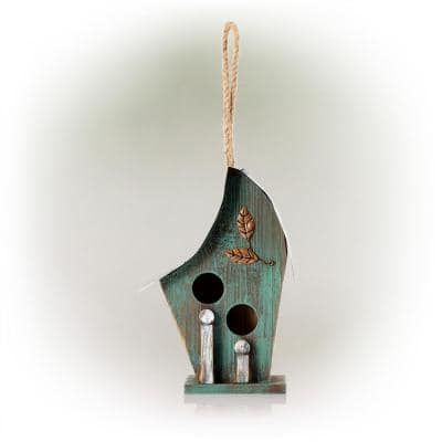 12 in. Tall Outdoor Hanging Wooden Birdhouse, Turquoise
