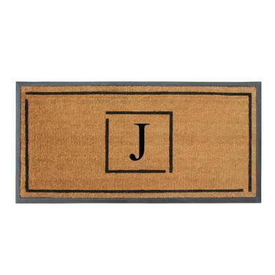A1HC Hand-Crafted Black/Beige 24 in. x 48 in. Rubber Coir Perfect & More Functional Double/Single Monogrammed J Doormat