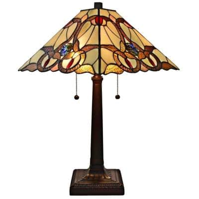 23 in. Multi-Colored Tiffany Style Geometric Mission Table Lamp