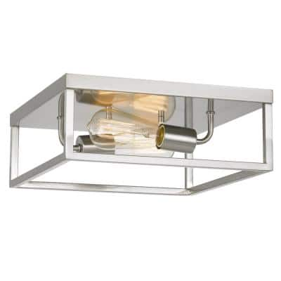 Concord 12.75 in. x 12.75 in. x 5 in. 2-Light Brushed Nickel Flush Mount
