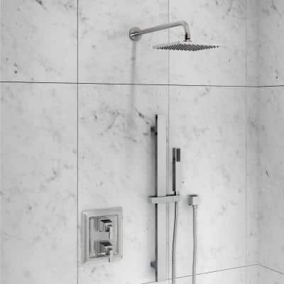 1-Spray 8 in. Single Ceiling Mount Fixed Rain Shower Head in Polished Chrome