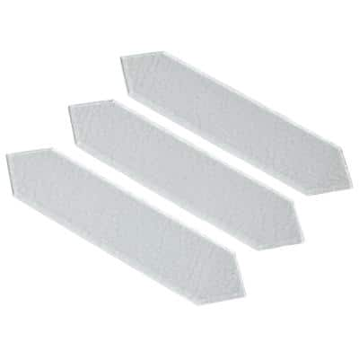 Hexagon Glass Tile 12 in. x 3 in. Super White Textured Glass Wall Tile (5.5 sq. ft. / case)