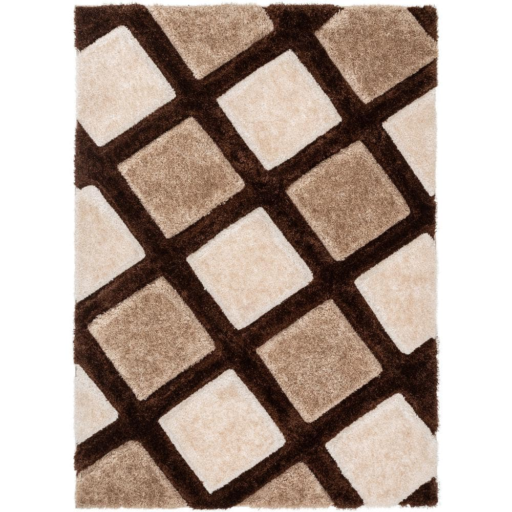 Well Woven San Francisco Posh Brown Modern Geometric Trellis 5 Ft 3 In X 7 Ft 3 In 3d Carved Shag Area Rug Sf 37 5 The Home Depot