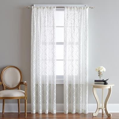 White Geometric Rod Pocket Sheer Curtain - 50 in. W x 95 in. L
