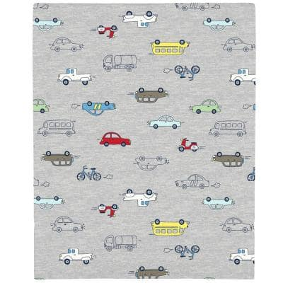 Red Busy Cars and Bikes Super Soft Fitted Polyester Crib Sheet