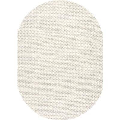 Caryatid Chunky Woolen Cable Off-White 5 ft. x 8 ft. Oval Rug