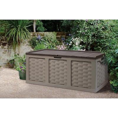 153 Gallon Plastic Deck Box, Mocha/Brown