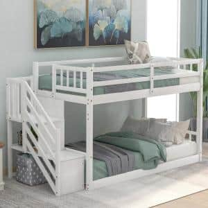White Twin Over Twin Floor Bunk Bed with Storage