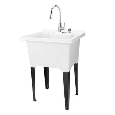 25 in. x 21.5 in. ABS Plastic Freestanding Sink in White - Chrome Hi-Arc Pull-Down Faucet, Soap Dispenser
