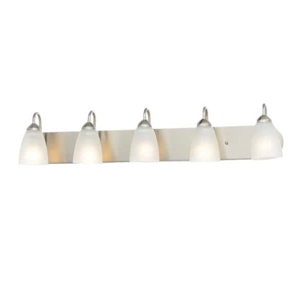 Progress Lighting Gather Collection 5 Light Brushed Nickel Etched Glass Traditional Bath Vanity Light P2713 09 The Home Depot