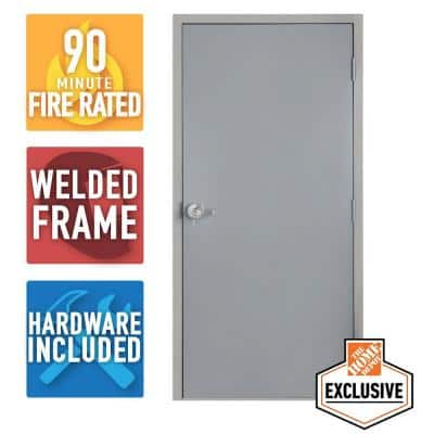 36 in. x 84 in. Fire-Rated Gray Left-Hand Flush Entrance Steel Prehung Commercial Door with Welded Frame and Hardware