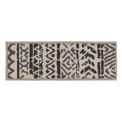 "Bohemian Design Geometric Non-Slip Stair Treads 8.6"" x 26"" Cream (Set of 13)"