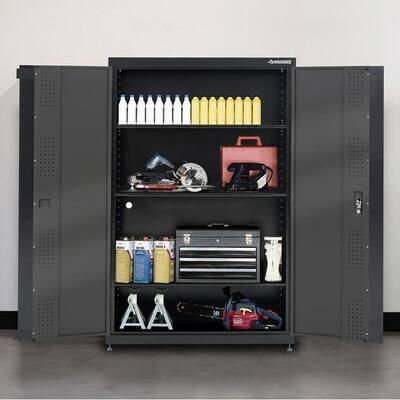 Black and Gray Welded Steel Floor Cabinet (46 in. W x 72 in. H x 24 in. D)