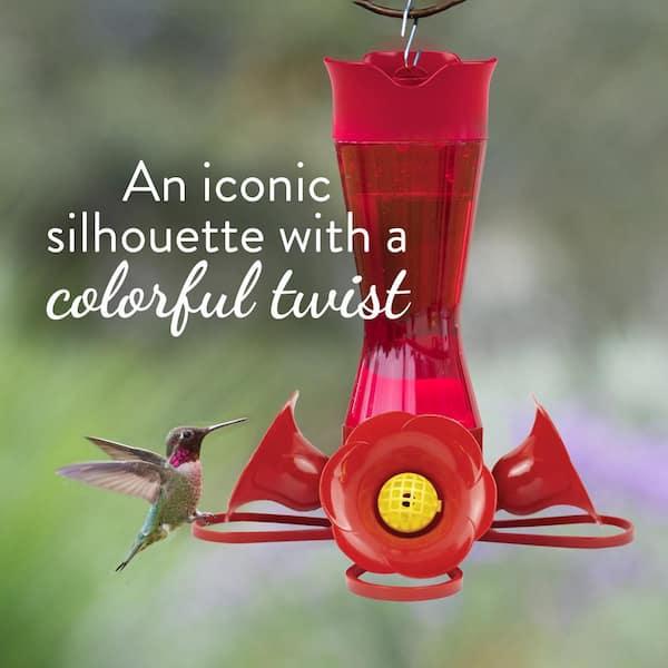8 oz clear pinch waist glass hummingbird feeder capacity