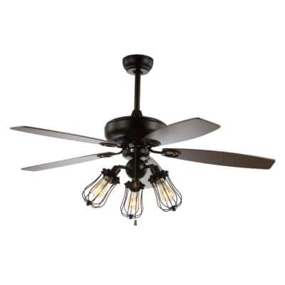 Lucas 52 in. Black Caged 3-Light Metal/Wood LED Ceiling Fan With Light