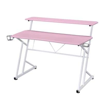 Pink Computer Gaming Desk with Shelves