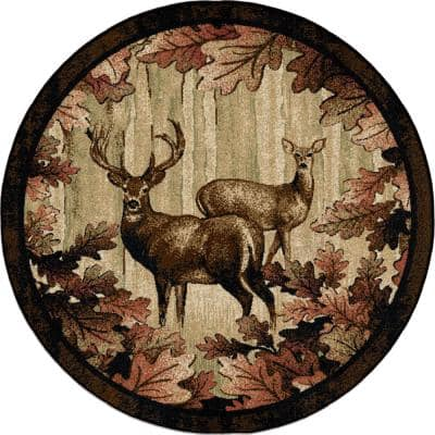 American Destination Whitetail Woods Multi-Colored Lodge 8 ft. Round Area Rug