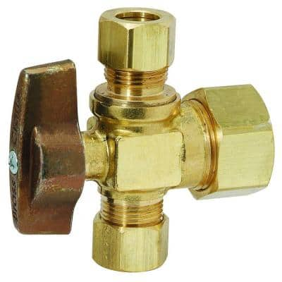 1/2 in. Nominal Compression Inlet x 3/8 in. O.D. Compression x 3/8 in. O.D. Compression Dual Outlet 1/4 Turn Ball Valve
