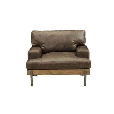 Silchester Distressed Chocolate Top Grain Leather, Oak Wood Trim Chair