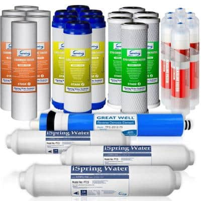 3-Year Filter Replacement Supply Set For 6-Stage Reverse Osmosis RO Water Filtration Systems w/ Alkaline Mineral Filter