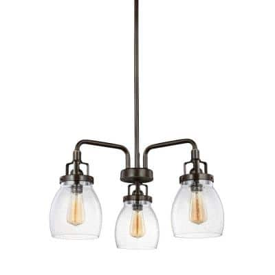 Belton 3-Light Heirloom Bronze Transitional Industrial Single Tier Hanging Chandelier with Clear Seeded Glass Shades