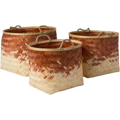 Adely Camel Bamboo 15 in. x 11 in., 16.9 in. x 12.6 in., 18.9 in. x 14.2 in. 3-Piece Basket Set