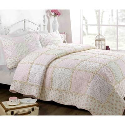 3-Piece Sweet Light Peachy Pink Floral Patchwork Gingham Ruffle Scalloped Cotton Queen Quilt Bedding Set