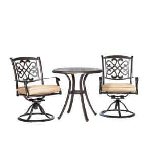 3-Pieces Cast Aluminum Bistro Set Dining Table Patio Swivel Chairs and Beige Cushions Garden Backyard Outdoor Furniture