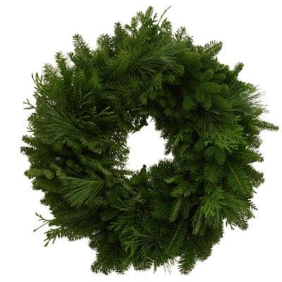 24 in. Balsam Mixed Greens Fresh Wreath : Multiple Ship Weeks Available