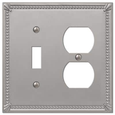 Imperial Bead 2 Gang 1-Toggle and 1-Duplex Metal Wall Plate - Brushed Nickel