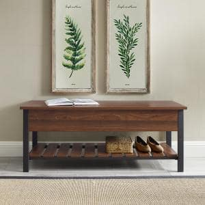 Dark Walnut Modern Farmhouse Storage Bench with Shoe Shelf