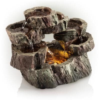 10 in. Tall Indoor Tabletop Circular Tiered Tree Trunk Waterfall Fountain with LED Lights