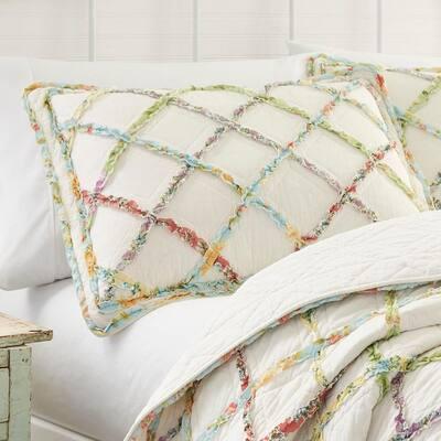 Ruffle Garden 1-Piece Beige Geometric Cotton Standard Sham