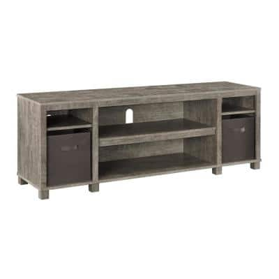 Hawke's Bay 58.19 in. Weathered Oak TV Stand with 2-Bins for TVs up to 60 in.