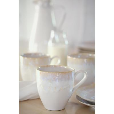 Taormina 14 oz. White Stoneware Mug (Set of 6)