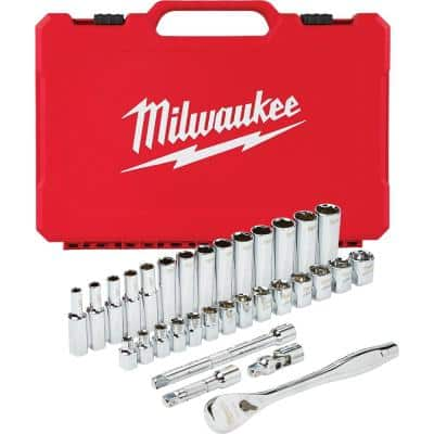 3/8 in. Drive Metric Ratchet and Socket Mechanics Tool Set (32-Piece)