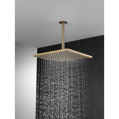 1-Spray 11.8 in. Single Wall Mount Square Fixed Rain Shower Head in Champagne Bronze