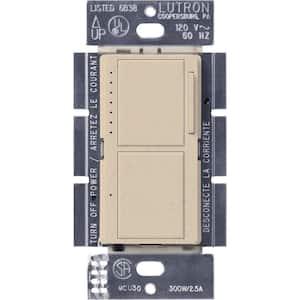 Maestro 300-Watt Single-Pole Dual Dimmer and Switch - Stone