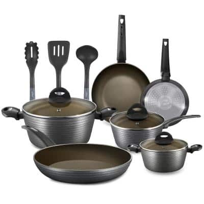 Ridge-Line 12-Piece Aluminum Nonstick Cookware Set in Chrome