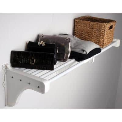 Expandable Shelf (No Hanging Rod) 17.5 in. W - 27 in. W, White, Mounts to Back Wall (2 End Brackets),Wire,Closet System