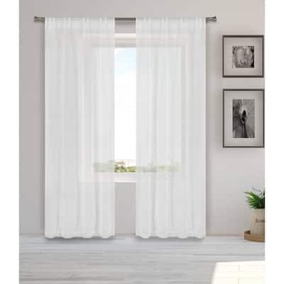 White-gold Solid Rod Pocket Room Darkening Curtain - 38 in. W x 96 in. L  (Set of 2)