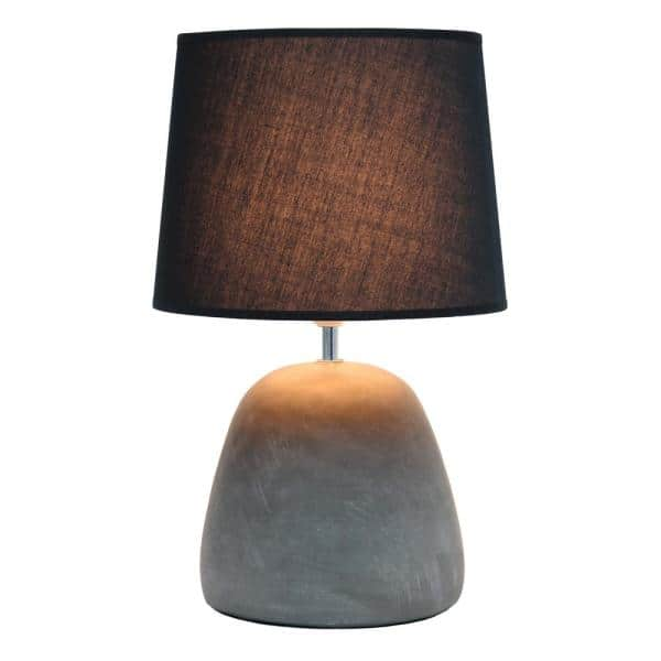 Simple Designs 16 5 In Gray Round Concrete Table Lamp With Black Shade Lt2058 Blk The Home Depot