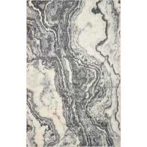 Watercolors Ivory/Grey 6 ft. x 9 ft. Marble Area Rug