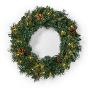 24 in. Green Battery Operated Pre-Lit Warm White LED Mixed Pine Artificial Christmas Wreath with Pine Cones