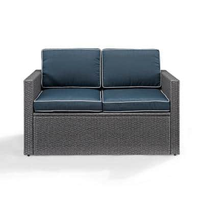 Palm Harbor Wicker Outdoor Loveseat with Navy Cushions